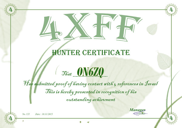 ON6ZQ WWFF Hunter award