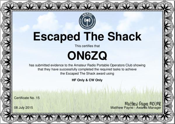 ON6ZQ ARPOC Escaped The Shack