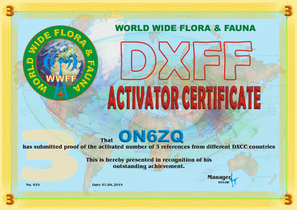ON6ZQ DXFF Activator award