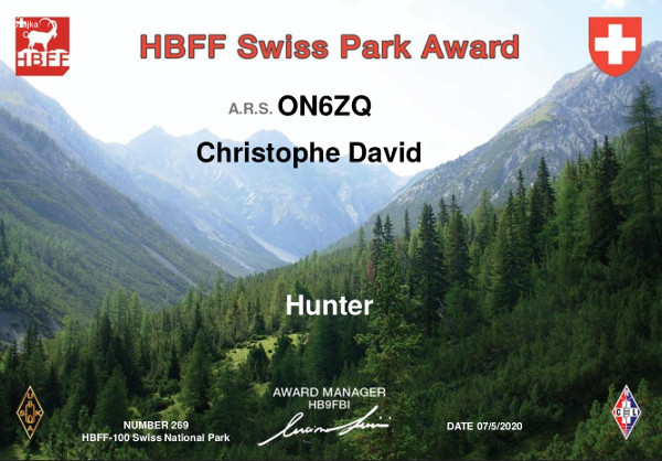 ON6ZQ HBFF Hunter award