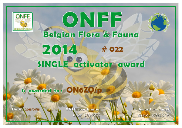 ON6ZQ ONFF Single Operator 2014 award