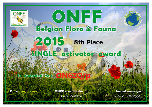 ON6ZQ ONFF Single Operator 2015 award