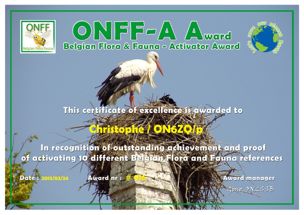 ON6ZQ ONFF Activator award