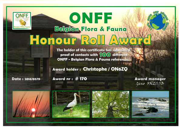 ON6ZQ ONFF Hunter award