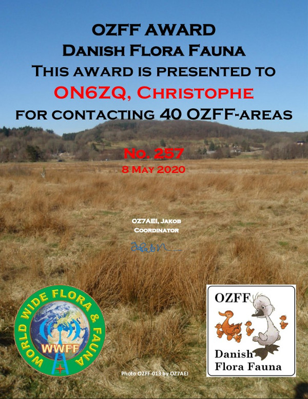 ON6ZQ OZFF Hunter award