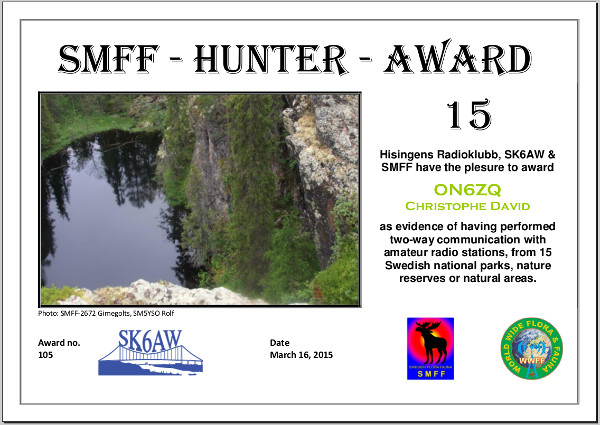ON6ZQ SMFF Hunter award