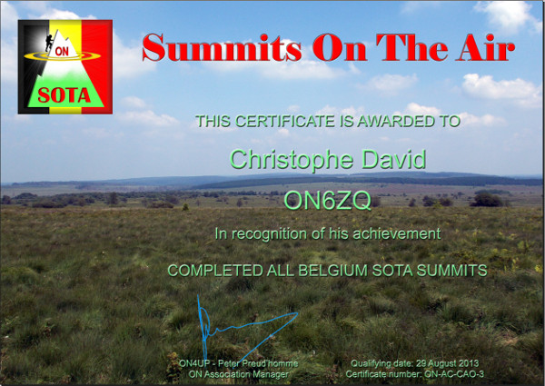 ON6ZQ SOTA Completed All ON Summits