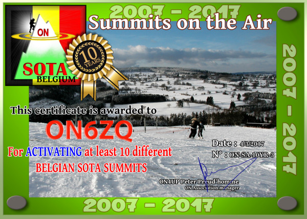ON6ZQ SOTA Completed 10 ON Summits in 2017 -  10th anniversary SOTA Belgium