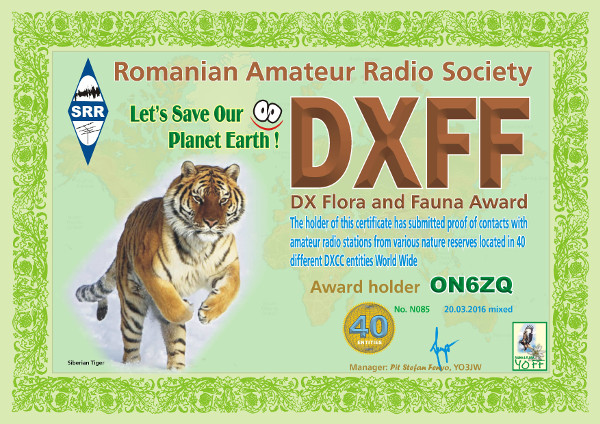 ON6ZQ DXFF Hunter award