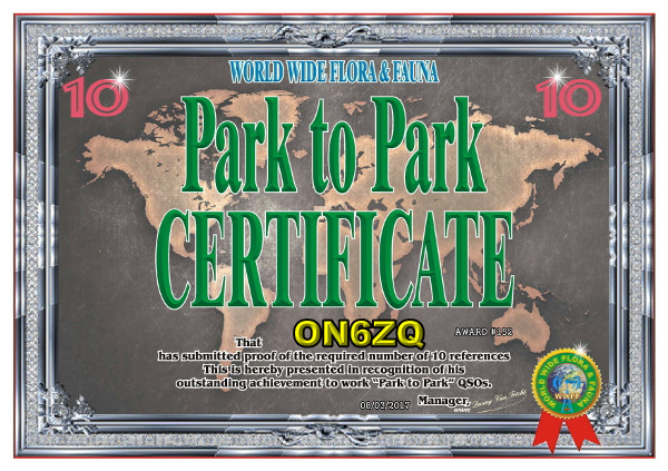 ON6ZQ WWFF Park To Park Activator award