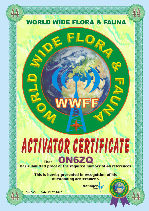 ON6ZQ WWFF Activator award